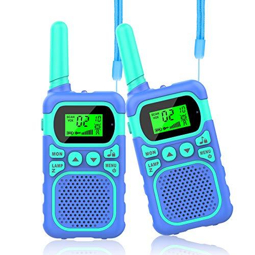 WOWGO Walkie Talkie para Niños 8 Canales 3 KM Alcance Juguete con LCD Retroiluminado Linterna Infantiles