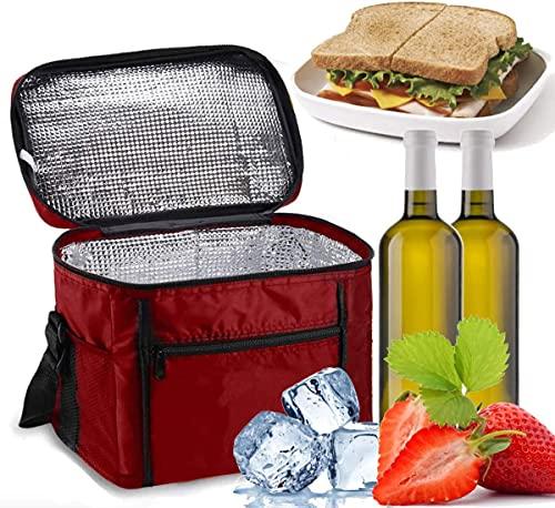 Noete Bolsa de pícnic plegable térmica, bolsa isotérmica, bolsa para el almuerzo, con correa ajustable para el hombro para viajes, senderismo, barbacoa, fiesta (rojo)
