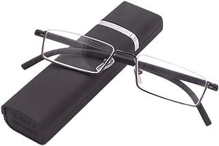 Leesbril met ultralicht TR90 montuur, leeshulp, halfbril van metalen frame met half frame, zichthulp met brillenetui voor ...
