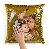 Custom Photo Sequin Pillow Cases | Gold Mermaid Sequin Pillow Case w Any Picture | Magic Reversible Throw Pillowcases - Decorative Cushion, Pillow Cover for Sofa Couch - Home Decor Personalized Gifts