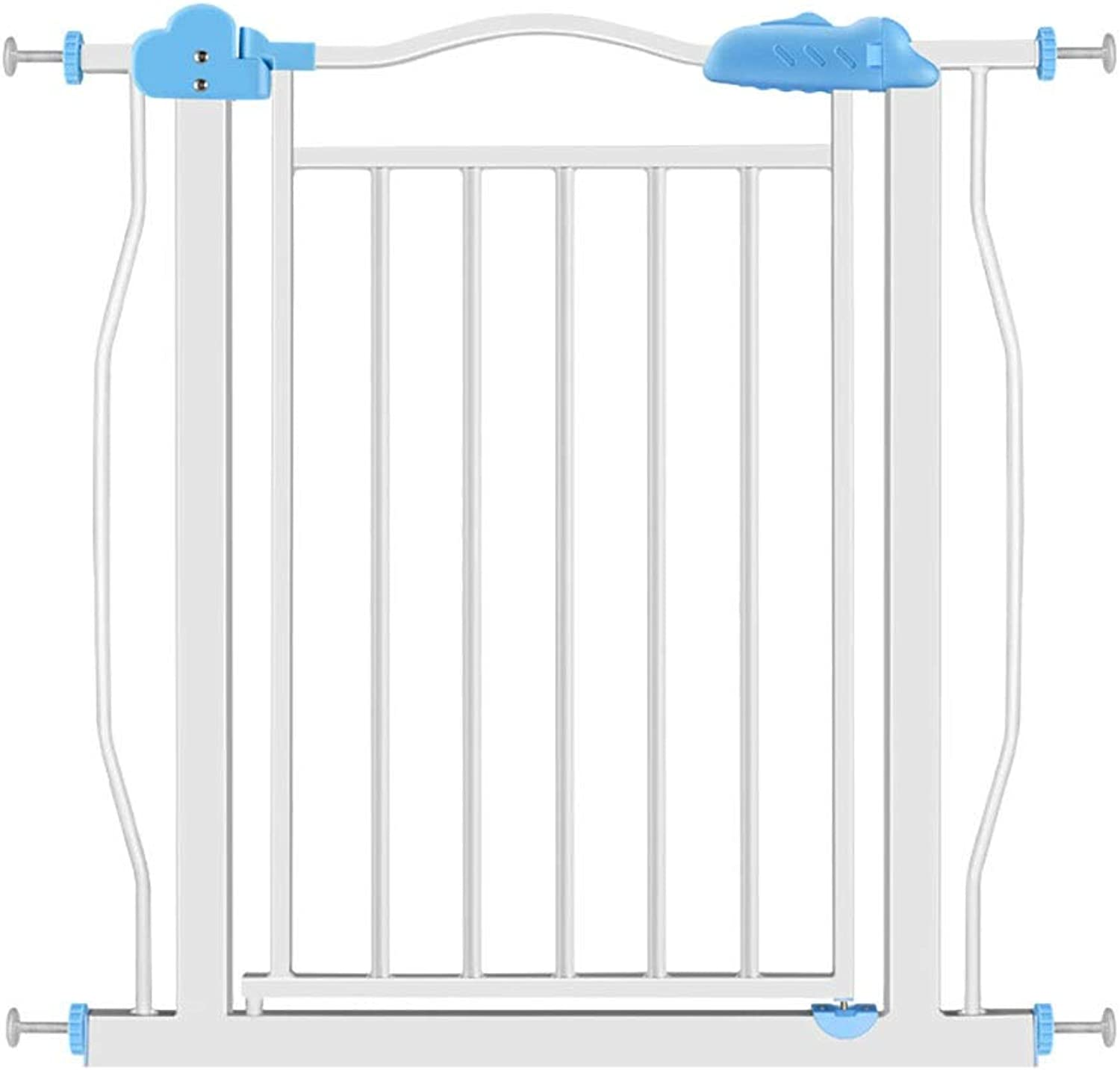 Baby Gates Extra Wide Baby Gates for Stairways & Hallways, Pressure Mounts Pet Gate with Dog Cat Door, 77171cm Wide, 81cm Height (color   bluee, Size   Width 107117cm)