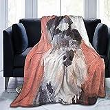 keiou Manta de Franela con patrón Personalizado,Retrato de Pintura de Perro Schnauzer Miniatura Negro Acuarela,Manta de Felpa Suave y cómoda 40'x50'