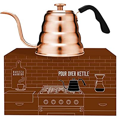 Barista Warrior Stainless Steel Pour Over Coffee & Tea Kettle with Thermometer for Exact Temperature - Gooseneck Spout Pots - Kitchen Appliances & Dorm Essentials (Copper Coated, 1.2 Liter, 40 fl oz) from