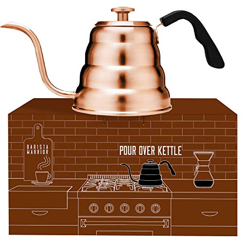 Barista Warrior Stainless Steel Pour Over Coffee & Tea Kettle with Thermometer for Exact Temperature - Gooseneck Spout Pots - Kitchen Appliances & Dorm Essentials (Copper Coated, 1.2 Liter, 40 fl oz)