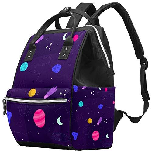 Mochila de viaje para ocio o escuela, dibujada a mano, con fondo, multifunción, bolsa de pañales con correa ajustable para hombres, mujeres, niñas y niños