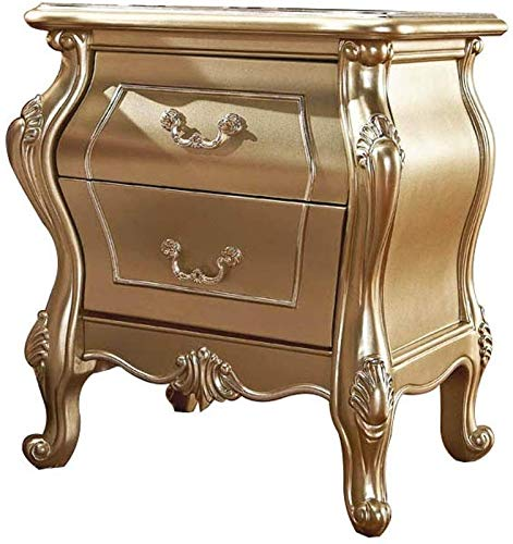 Sale!! LAZ Bedside Table European Champagne Mini Double Drawer Bedroom Carved Storage Cabinet Nights...