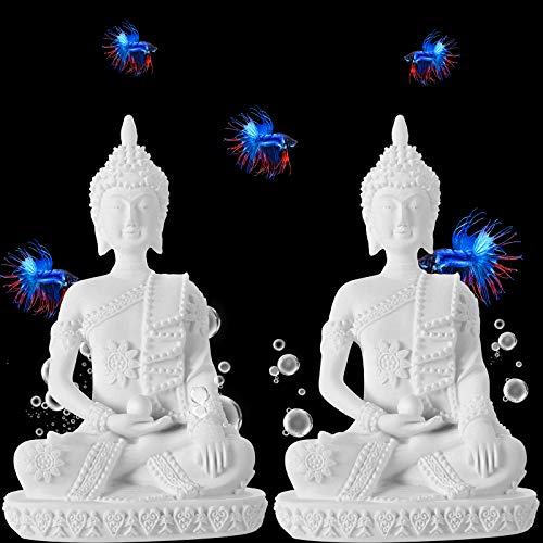 WILLBOND 2 Pieces Buddha Fish Aquarium Decoration Sitting Sandstone Buddha Fish Tank Decor Buddha Meditation Statue Fish Ornaments for Terrariums Fish Tank and Reptile Box