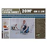 Bâche plastique 20 m² - 4x5 m - Protection contre taches et gouttes de peintures - Protection simple et rapide des meubles, matelas, tissus lors de chantiers