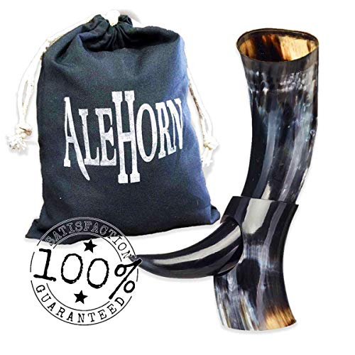 AleHorn Drinking Horn - 12 Inch Curved Style Drinking Horn with Stand - Viking Beer Cup with Polished Finish for Ale & Mead - Handcrafted Viking Horn Beer Stein - Authentic Holiday Gift