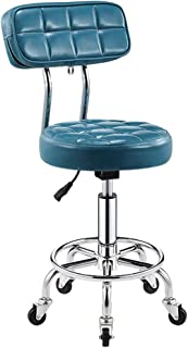 SUNHAI Faux Leather Kitchen Breakfast Bar Chair with Backrest,Extra Thick 10cm Padding Height Adjustable 5 Castors,Work Stool, Beauty Roller Stools (Color : Sky Blue, Size : 44-56cm)