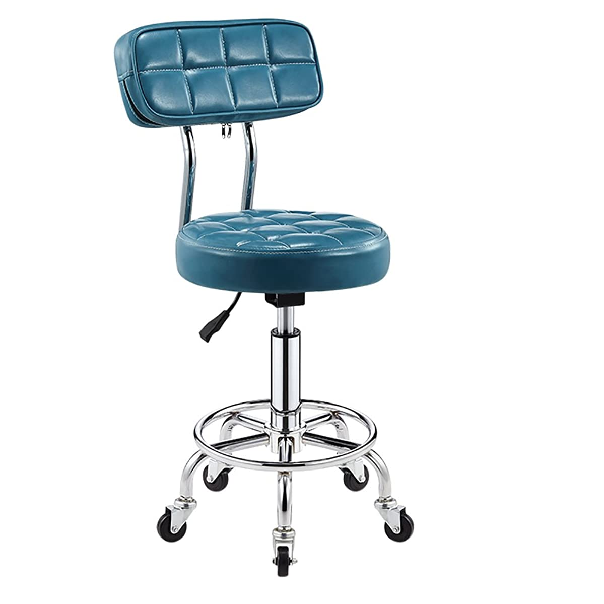 - Faux Leather Kitchen Breakfast Bar Chair with Backrest,Extra Thick 10cm Padding Height Adjustable 5 Castors,Work Stool, Beauty Roller Stools Swivel Chair (Color : Sky Blue, Size : 44-56cm)