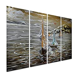Pure Art Paper Boats in The Ocean - Sea Nautical Metal Wall Art Decoration - Beach Themed Hanging Sculpture - Set of 4 Panels of 47 x 24