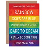 Wee Blue Coo Wizard of OZ Quote - Frank Baum - Somewhere Over The Rainbow Sealed Greeting Card Plus Envelope Blank Inside