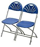Dynamic24 2x Klappstuhl Gartenstuhl Campingstuhl Gastronomie Bistro Stuhl Stühle blau mit Reihenverbinder