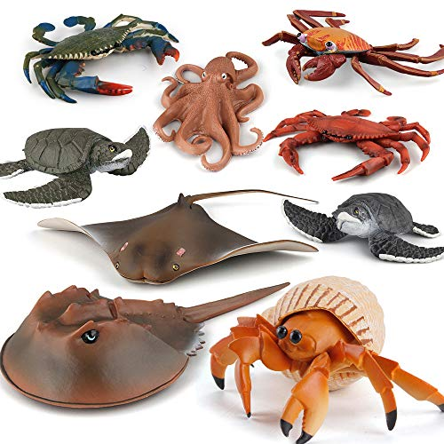 Fantarea Simulation Ocean Sea Animal Model Figures Crab Pagurian Ray Fish Octopus Educational Learning Toy Playset Figurine Desktop Decoration Collection Party Favors Toys for Boys Girls Kid(9 pcs)