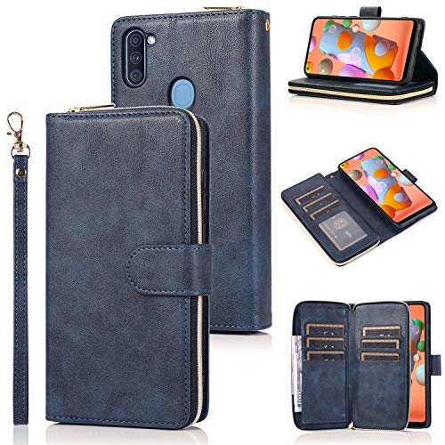LBYZCASE Wallet Case for Galaxy A11(2020),Samsung A11 Phone Case,Premium Folio Flip Leather Cover[Magnetic Closure][Zipper Pocket][9 Card Slots][Kickstand] for Samsung Galaxy A11 (Blue)