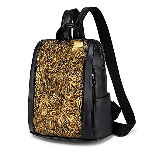3D Embossed China Dragon Backpack PU Leather Backpack Gold School Bag Bookbag