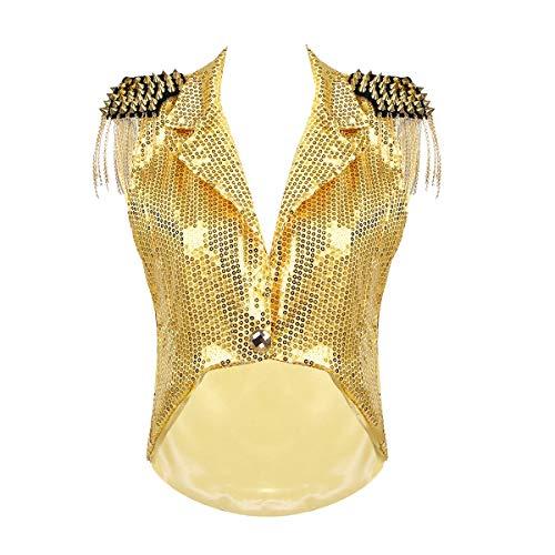 YiZYiF Damen Pailletten Weste Ärmellos Jacke mit Metalic Quasten Frauen V-Ausschnitt Captain Waistcoat Blazer Karneval Fasching Silvester Party Kostüm Gold One Size