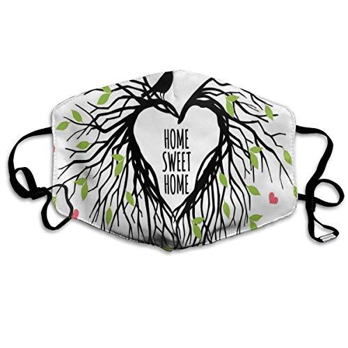 Mundschutz,Staubschutzhaube,Herzförmiges Vogelnest Sweet Home Zitat Hope Family Partners In Nature,Anti-Staub-Gesichtsschutz,Winddichte Mundabdeckung,Nasenabdeckung