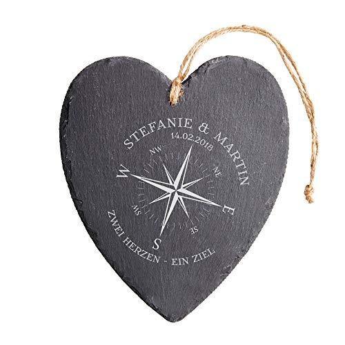 Casa Vivente Schieferherz mit Gravur, Motiv Kompass, Personalisiert mit Namen und Datum, Hochzeitsgeschenk für Brautpaar, Wohn-Deko, Liebesgeschenk