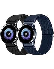 WNIPH 20mm Pack 3 Nylon Horlogebanden Compatibel met Samsung Galaxy Watch Active 2 (40mm/44mm)/Horloge 3 41mm/Horloge 42mm/Gear S2, Elastische Verstelbare Stof Ademend Vervanging banden