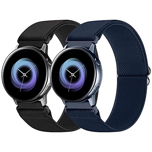 WNIPH Paquete de 2 correas de 20 mm, compatibles con Samsung Galaxy Watch/Huawei Watch/Garmin Watch/Ticwatch Watch/Fossil Watch, correa de nailon elástica ajustable para deportes pulsera de repuesto