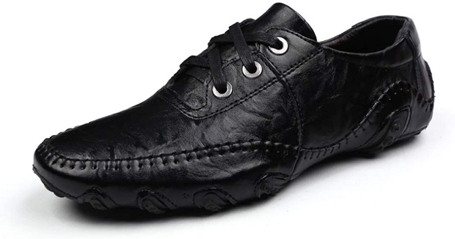 Moccasin-Gommino Men's Breathable Lace-up Leather shoes Driving shoes Loafer Flats Casual Walking Sneaker Loafer