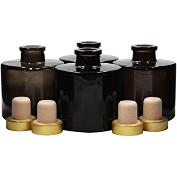 Feel Fragrance リードディフューザー用 リードディフューザーボトル 容器 黒色 蓋付き 4本セット (100ML円形)