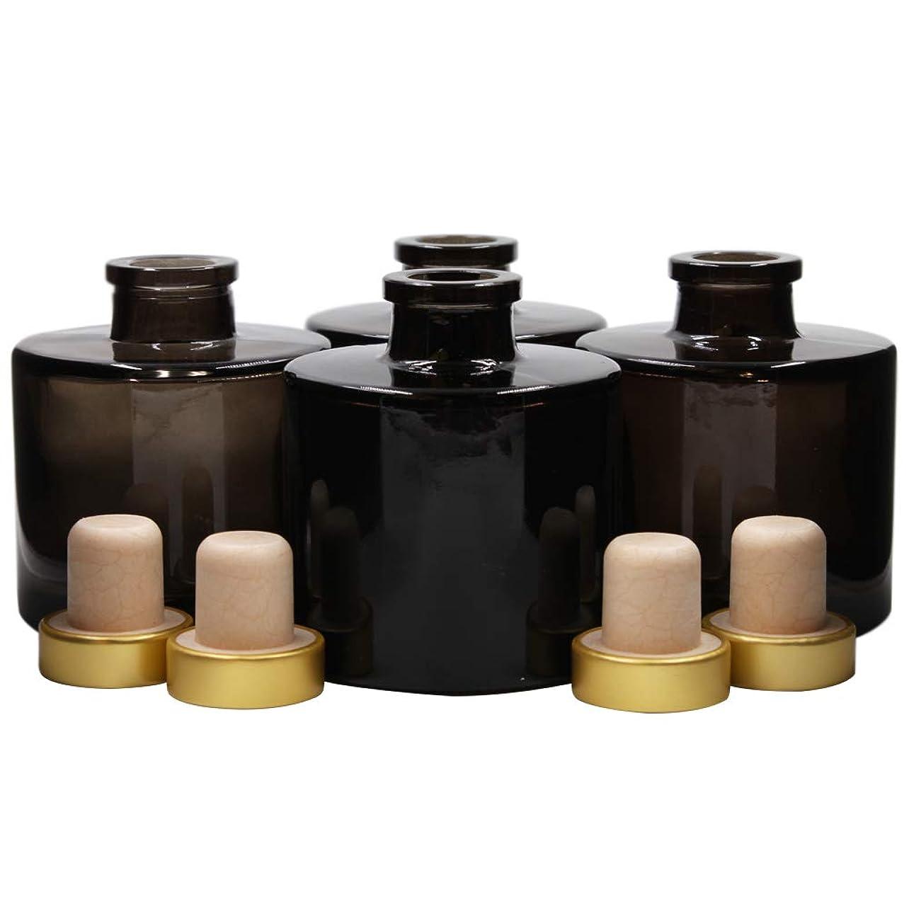 着実に昨日くFeel Fragrance リードディフューザー用 リードディフューザーボトル 容器 黒色 蓋付き 4本セット (100ML円形)