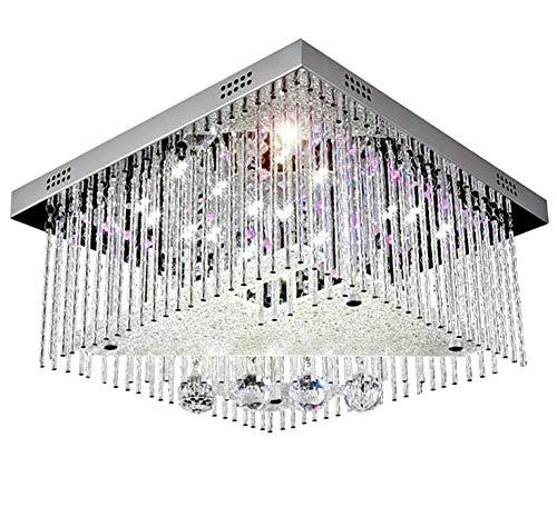 Farbwechsel Led Kristall Deckenleuchte Kronleuchter Deckenlampe Leuchte Lüster für Wohnzimmer 40x40cm 5x G9 inkl. Led Leuchtmittel und Fernbedienung