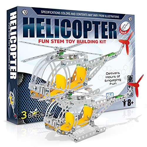 3 Bees & Me Fun STEM Toy Building Kit | Metal Helicopter Erector Set for Boys and Girls Age 8 Years Old and Up | Educational Birthday for Junior Engineers | Kids Building Projects