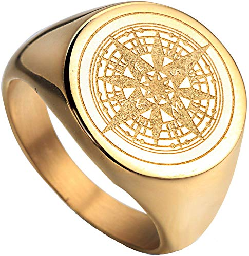 HIJONES Men's Stainless Steel Retro Compass Mysterious Ring Gold Size W