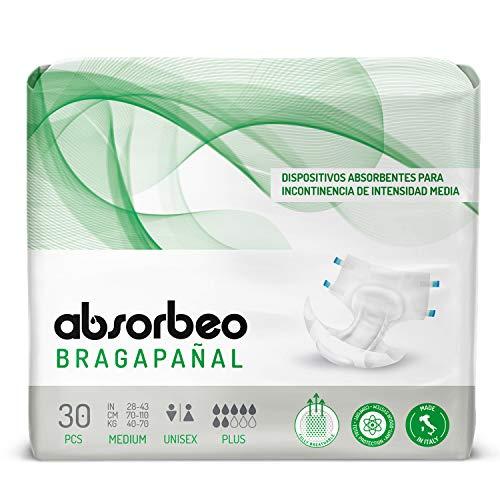 Bragapañal Plus - Dispositivos Absorbentes para Incontinencia de Intensidad Media, Unisex, Talla M (30 piezas por paquete)