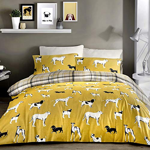 Fusion - Dogs - Easy Care Duvet Cover Set - King Bed Size in Ochre