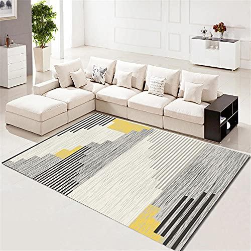 alfombras para Comedor Alfombra de la Sala de Estar Amarillo Gris Rayas Moderno Moderno Alfombra Lavado de Agua Gris Alfombra del Piso 120X160CM alfombras de Dormitorio Matrimonio 3ft 11.2''X5ft 3''