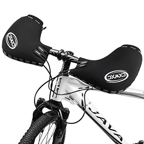 CXWXC Flat Handlebar Mitts Bicycle Fat Mountain Bike Mittens Waterproof Neoprene Warm Winter Bike Pogies Bar Mitts Muff Thermal Insulated Handlebar Covers for Cold Weather Riding Commuting