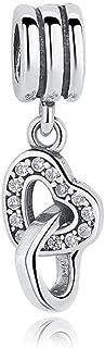 Heart Highlights Rose Love Dangle Charm 925 Sterling Silver Bead fit Pandora Charm Bracelets