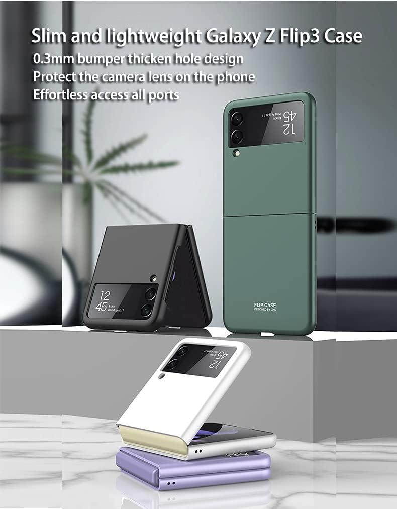 Case for Samsung Galaxy Z Flip 3 5G Phone Case Cover, Thin Fit Folding Screen Z Flip 3 5G Case Protective Cases, Covers Designed for Samsung Galaxy Z Flip 3 5G, Dark Green