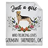 Just A Girl Who Freaking Loves German Shepherds Blanket Throw, Flannel Fleece Microfiber Lightweight Soft Cozy Luxury for All Season in Home Bed Sofa Chairs Dorm 50'x40' Blanket for Kids