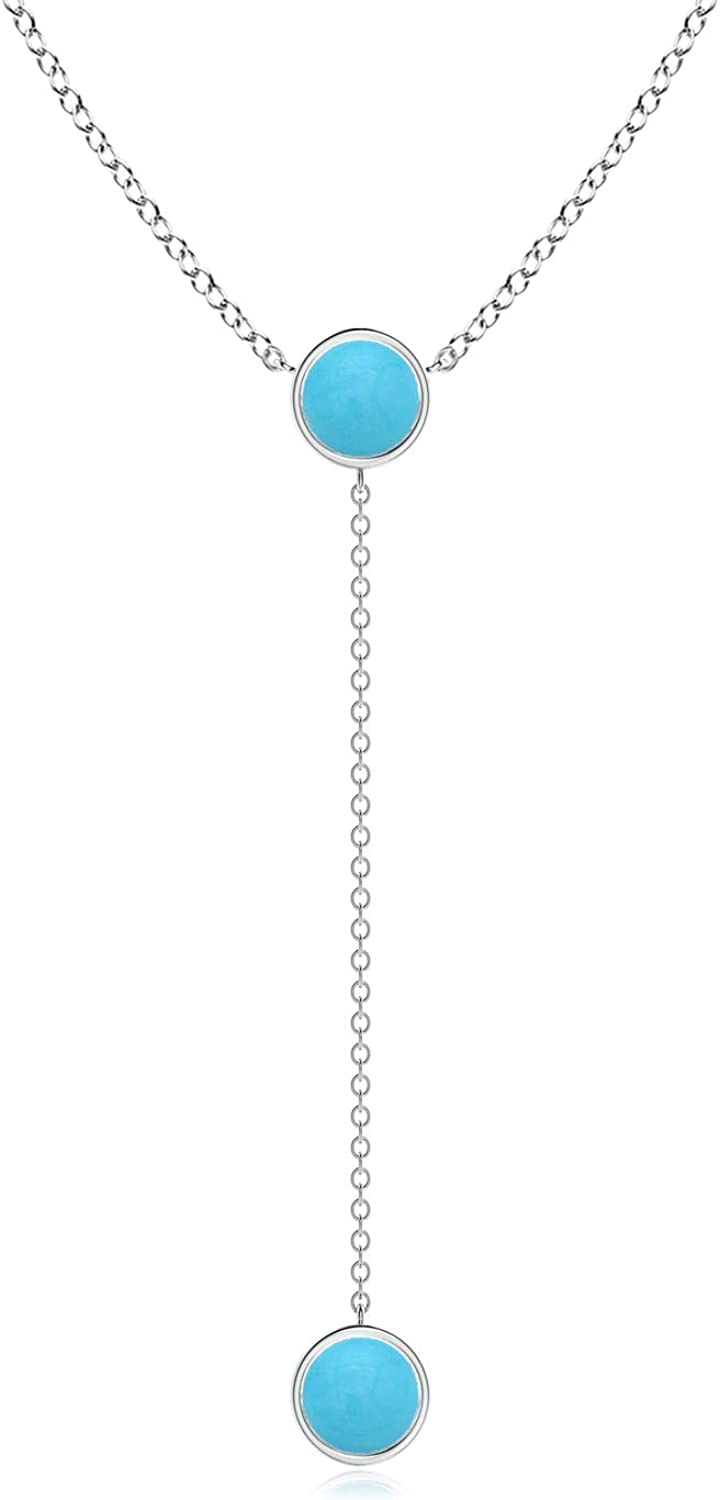 Bezel-Set Round Genuine Free Shipping Our shop OFFers the best service Turquoise Lariat Necklace Style 6mm