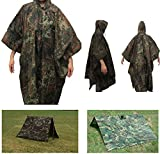 Ultimate Arms Gear Waterproof Rip Stop German Flectarn Military G.I. Style Poncho Tent Shelter