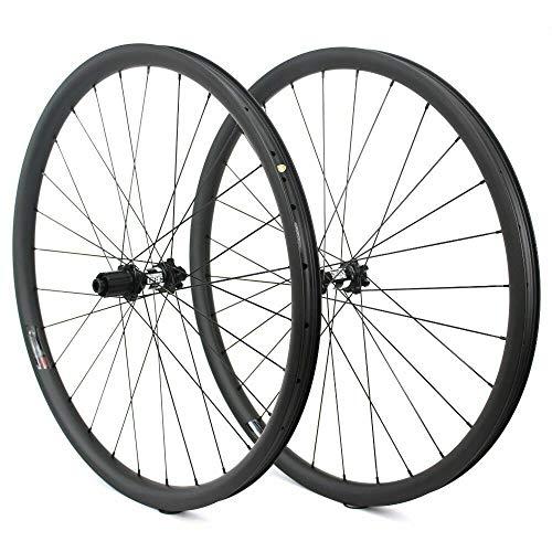 HULKWHEELSES 29er Mountain Bike MTB Carbon Wheelset Clincher Tubeless Ready 33mm Width 30mm Depth Rim AM Disc Brake Wheels DT Swiss 350 Hub 11 Speed 15×100/110mm 12×142/148mm Boost 28H (12×148 xd)
