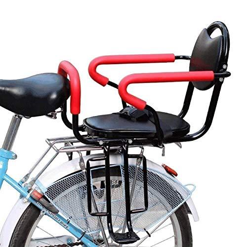 CRMY Asiento Trasero para Bicicleta para Adultos, con cojín y Respaldo, Pedales/reposabrazos y Valla Desmontable, para Asiento para niños de 2 a 6 años, soporta hasta 50 kg