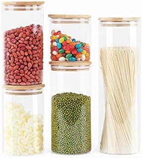 DZY 5er Set Glas Vorratsdosen,Vorratsdosenset mit Bambus Deckel,Küche LebensmittelLagerung Behälter Wird für Marmelade, Pasta, Spaghetti, Tee, Kaffeebohnen und Kekssnackglas 0.55/0.95/1.1/1.3/2.1L