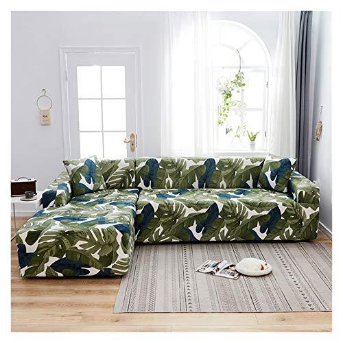 SASCD Cubierta Floral Sofá Cubierta elástica Cubiertas de sofá Longue para la Sala de Estar Cubiertas de Estiramiento para el sofá de Esquina L-en Forma de Necesidad Comprar 2pcs Funda