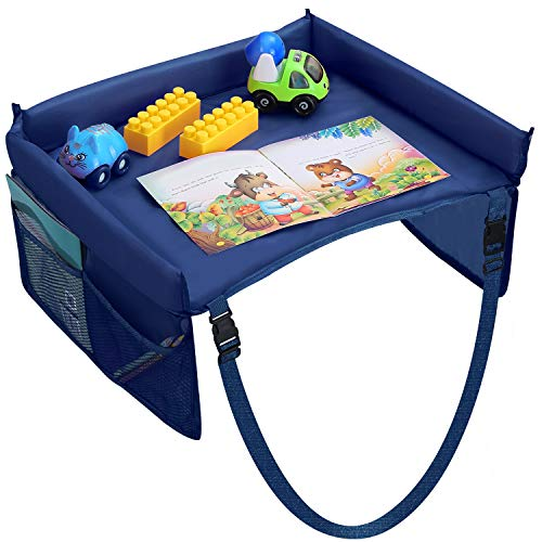 TeqHome Kids Travel Tray, Waterproof Car Seat Tray for Toddler, Solid Color Carseat Tray with Storage Pockets (Blue)