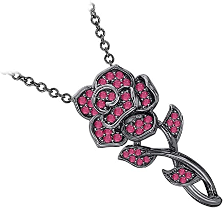 RUDRAFASHION Beautiful Rose Flower Gemstone Pendant Necklace 14K White /& Yellow Gold Over 925 Sterling Silver for Girls