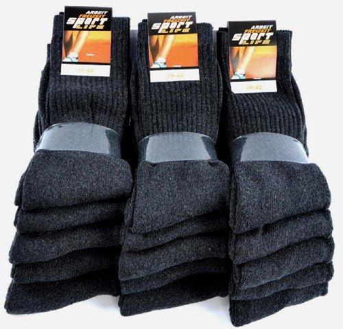 TippTexx24® 10 Paar Sportsocken-Arbeitssocken in guter Qualität (schwarz-meliert, 43-46)