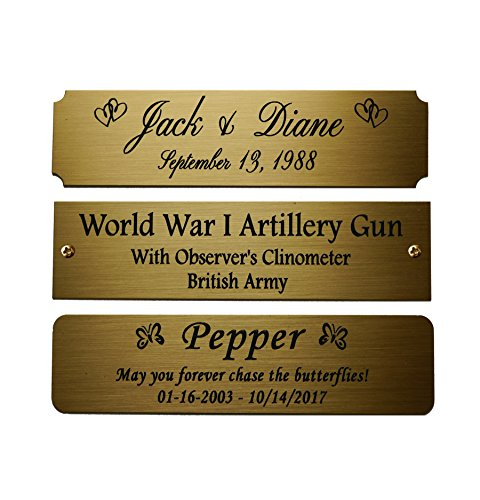 Size: 4 W x 1 H, Personalized, Custom Engraved, Brushed Gold Solid Brass Plate Picture Frame Name Label Art Tag for Frames, with Adhesive Backing or Screws - Indoor use only, Made in USA