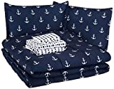 AmazonBasics Easy Care Super Soft Microfiber Kid's Bed-in-a-Bag Bedding Set - Full / Queen, White Anchors